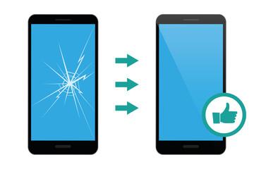mobile phone repair service broken and repaired display vector illustration EPS10
