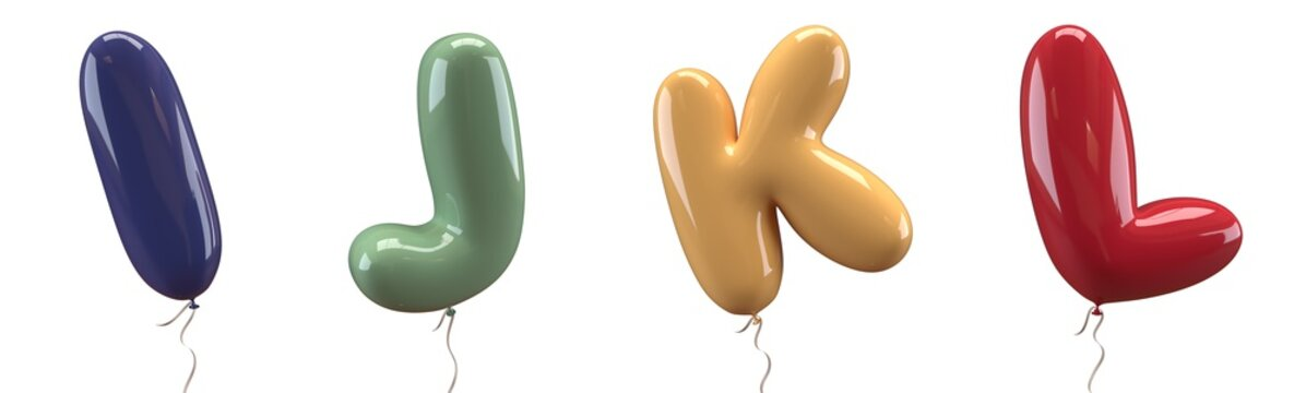 Brilliant balloons font. Alphabet letter i, j, k , l made of realistic elastic color rubber balloon. 3D illustration for your extraordinary balloon decoration in several concepts idea in many occasion