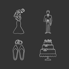 Wedding planning chalk icons set