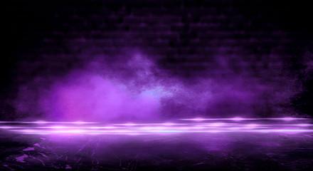 Dark empty room, old brick walls, concrete floor, smoke, dust, smog. Violet abstract light, night view.
