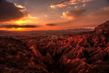 Sunset in the Red valley of Cappadocia