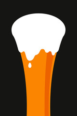 Glass of beer with foam in flat style. Simple vector illustration
