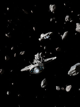 Two Spaceships Navigating an Asteroid Field - science fiction illustration