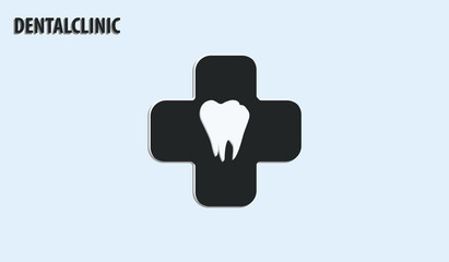Tooth white root on the background of a black medical cross - isolated on light background - flat style - vector.