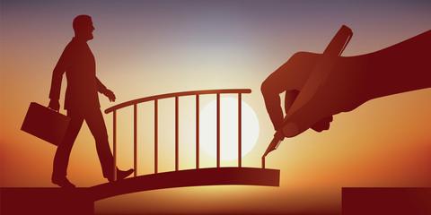 Concept de la solution, avec une main qui dessine un pont pour faciliter le franchissement d'un obstacle à un homme d'affaire et l'aider à atteindre son objectif.