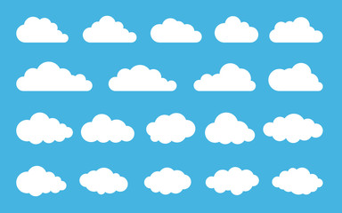 Cloud. Abstract white cloudy set isolated on blue background. Vector illustration Wall mural