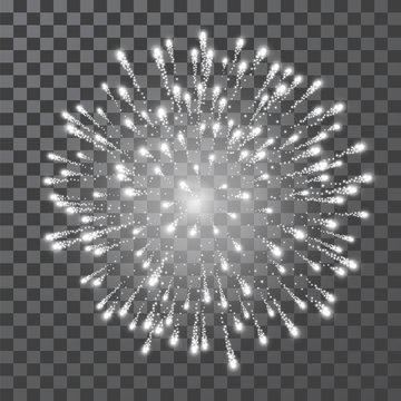 Fireworks. Festival white firework. Vector llustration on transparent background