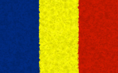 Graphic illustration of a Romanian flag with a star pattern