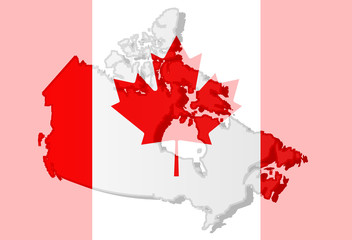 Graphic illustration of a Canadian flag with a cotour of itd brders