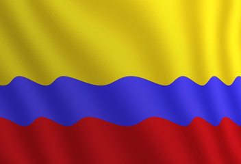 Graphic illustration of a flying Colombian flag enlightened from the right