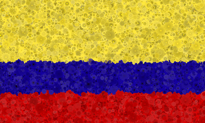 Graphic illustration of a Colombian flag with a flower pattern
