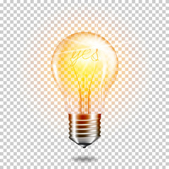 Wall Mural - Transparent realistic light bulb with word yes, isolated.