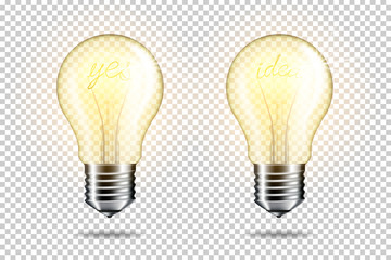 Wall Mural - Transparent realistic light bulb with word yes and idea, isolated.