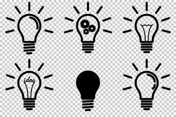 Wall Mural - Set of light bulb icon, isolated.