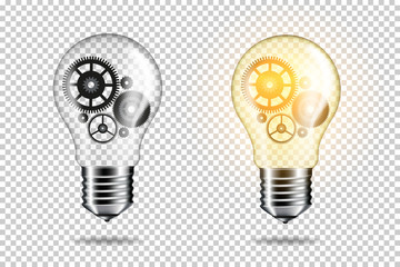 Set of transparent realistic light bulb with cogwheels, isolated.  Wall mural