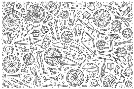 Hand drawn bicycle mechanic set doodle vector background