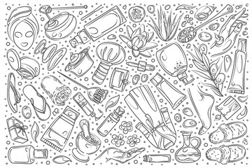 Hand drawn beauty set doodle vector background