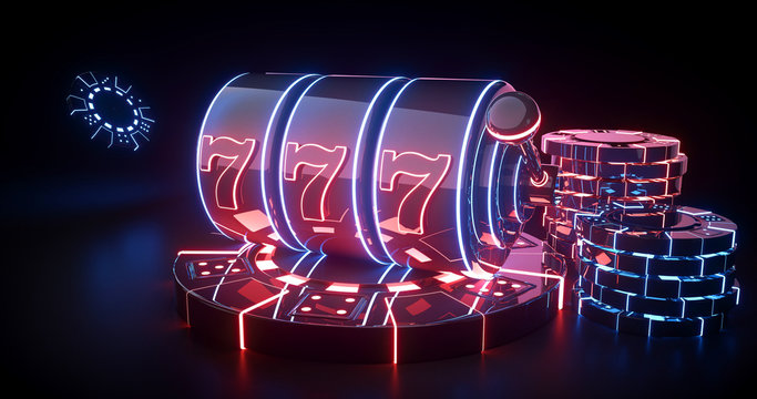 Futuristic Slot Machine And Casino Chips Concept With Red And Blue Neon Lights Isolated On The Black Background - 3D Illustration