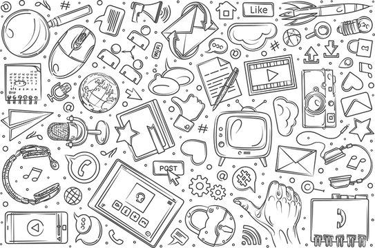 Hand drawn social media set doodle vector background