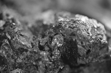 Abstract Black-and-white background. Texture natural Minerals. Crystal. Macro.