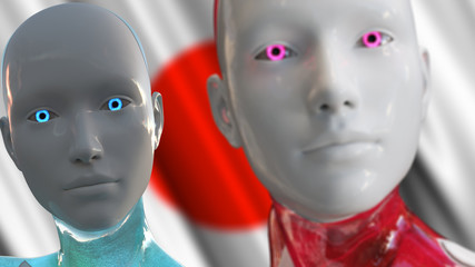Androids AI Artificial Intelligence Japan Concept