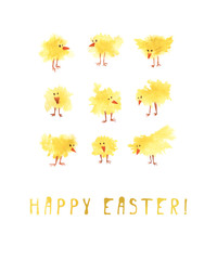 Happy Easter card. Watercolor holiday banner. Poster with funny yellow chickens. Watercolor illustration. Lettering.