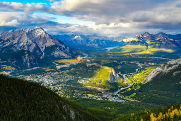 View over the town of Banff and the Canadian Rockies seen from Sulphur Mountain.Canada
