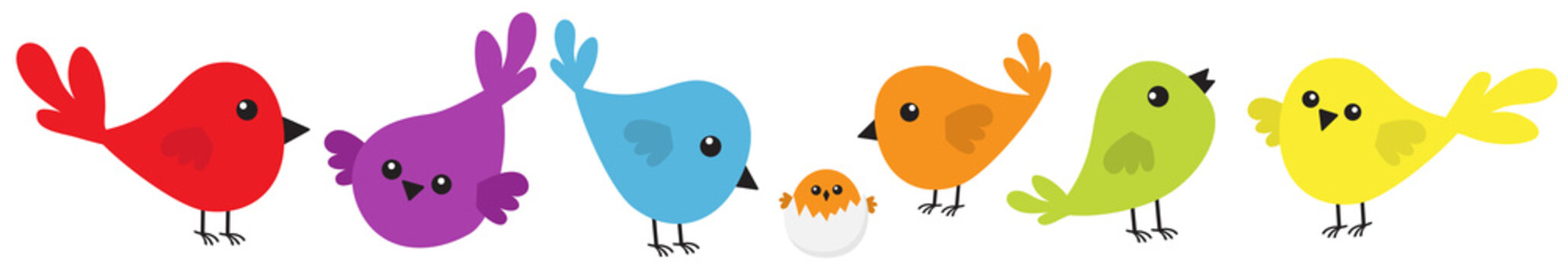 Bird icon set line. Cute cartoon colorful character. Birds baby collection. Decoration element. Singing song. Insect, shell nesting. Flat design. White background. Isolated.