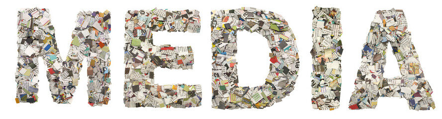 the word MEDIA made up of lots of newspaper confetti isolated