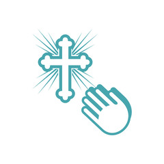 Vector illustration pleading gesture of hands and orthodox cross. Set of two vector icons. The sincere address in a prayer before a sacred cross. Flat design