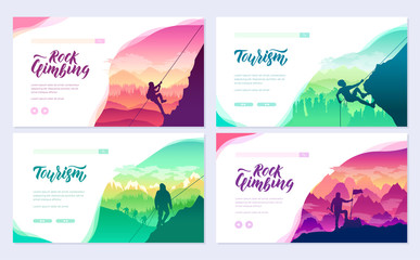 climber climbs the mountain brochure cards set. Extreme lifestyle of rock climbers template of flyear, web banner, ui header, enter site. Tourist hiking layout modern slider page Wall mural