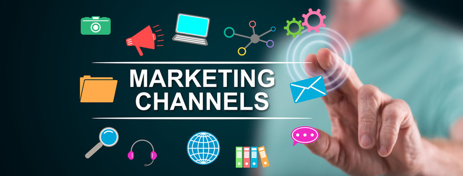 Man touching marketing channels concept