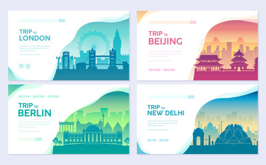 Travel information cards. Landscape template of flyear, magazines, posters, book cover, banners. Country of England, China, Germany, India, Japan, and set. Layout city pages Fototapete