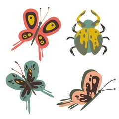 Vector insect set of butterfly and beetle