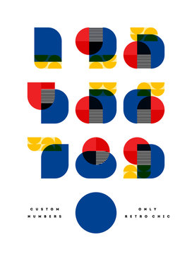 Poster with elegant only retro chic font of numbers in Bauhaus style. Modern numeral symbols in multiply blend mode. Beautiful vintage typographic with contemporary geometric design