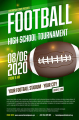 American football tournament poster template with ball and grass