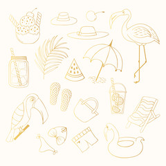 Set of cute golden summer outline objects. Cocktail, tropical palm leaf and flamingo. Gold beach party vector elements.