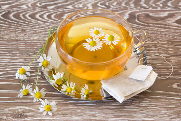 chamomile tea with tea bag