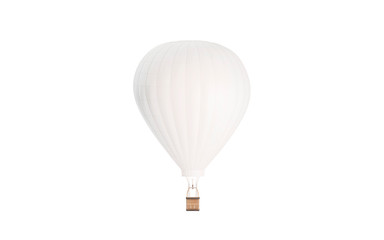 Blank white balloon with hot air mockup, isolated, 3d rendering. Empty sky transport mock up, front view. Clear dirigible with basket and hotair for journey template.
