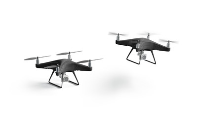 Blank black stand and flying quadrocopter mockup, isolated, 3d rendering. Empty digital quadrotor mock up. Clear aero videography for surveillance. Unmanned quad copter template.