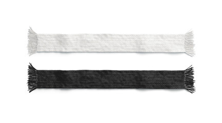 Blank black and white knitted scarf mockup set, isolated, 3d rendering. Empty textile accessory mock up, top view. Clear casual garment for christmas or soccer template.