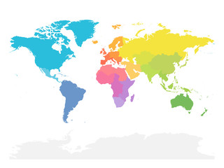 Wall Mural - Colorful map of World divided into regions. Simple flat vector illustration