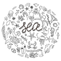 Set with hand drawn sea inhabitants elements. Vector doodle cartoon set of marine life objects for your design.