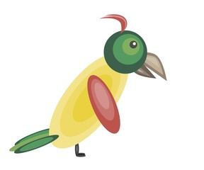 Cute colorful yellow parrot