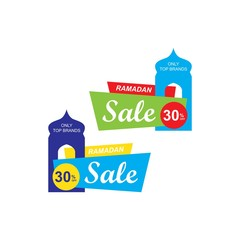 Ramadan sale banner,discount and best offer tag, label or sticker set on occasion of Ramadan Kareem and Eid