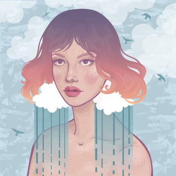 vector portrait of a beautiful girl with rain cloud earrings