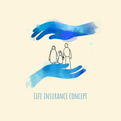Life and family insurance concept. Hands protection family. Vector illustration.