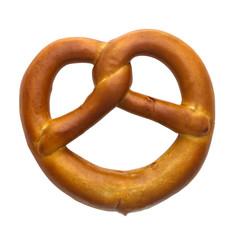 Bavarian pretzel isolated on white background closeup
