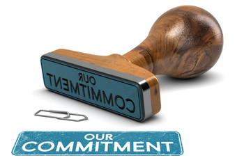 Our Commitment, Rubber Stamp Text Over White Background