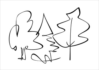 Deciduous and coniferous trees drawn with lines. Vector, isolated.